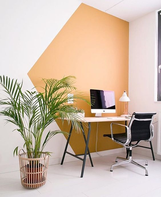 Colour Blocked Wall For Office Area