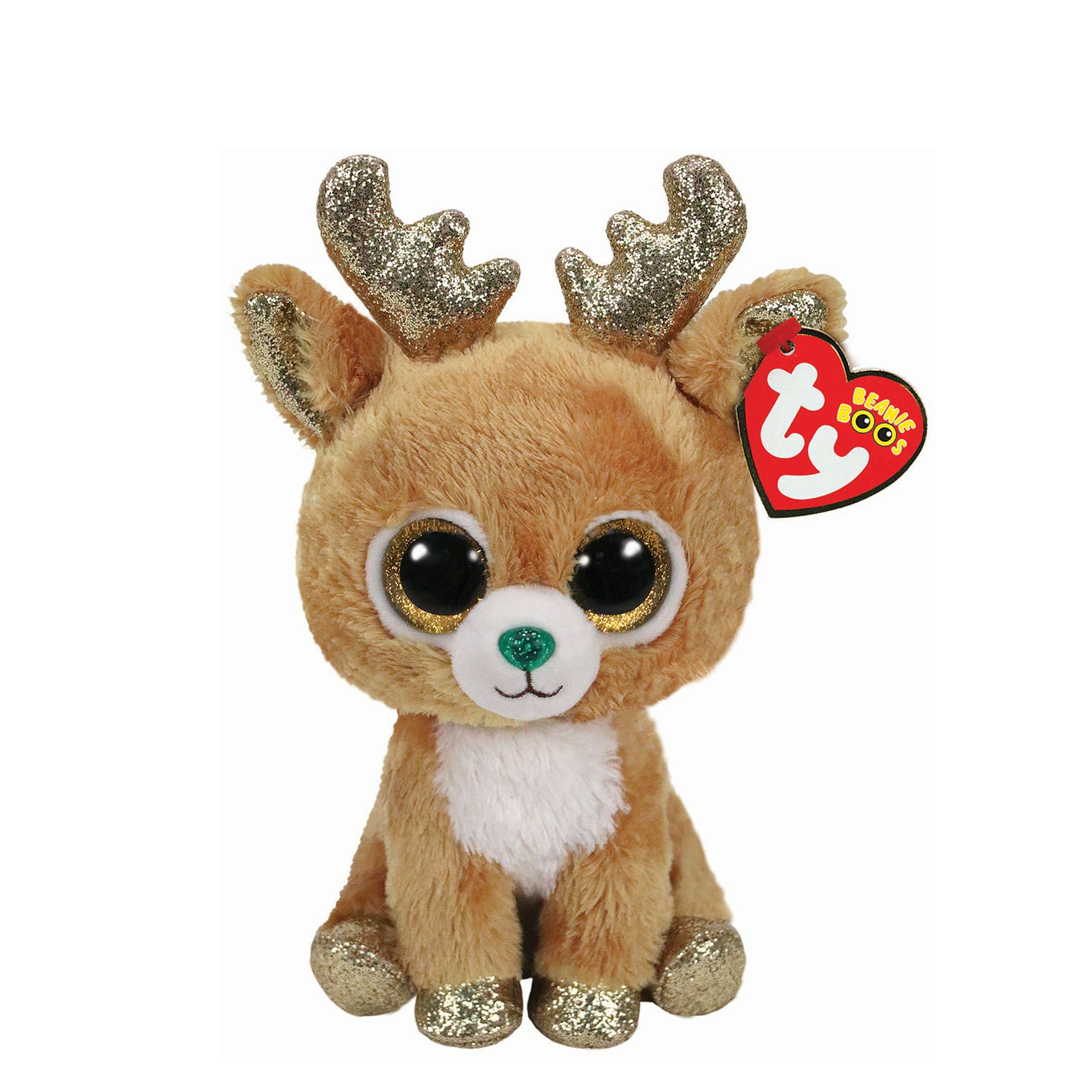 Ty Beanie Boo Small Glitzy the Reindeer Plush Toy Claire