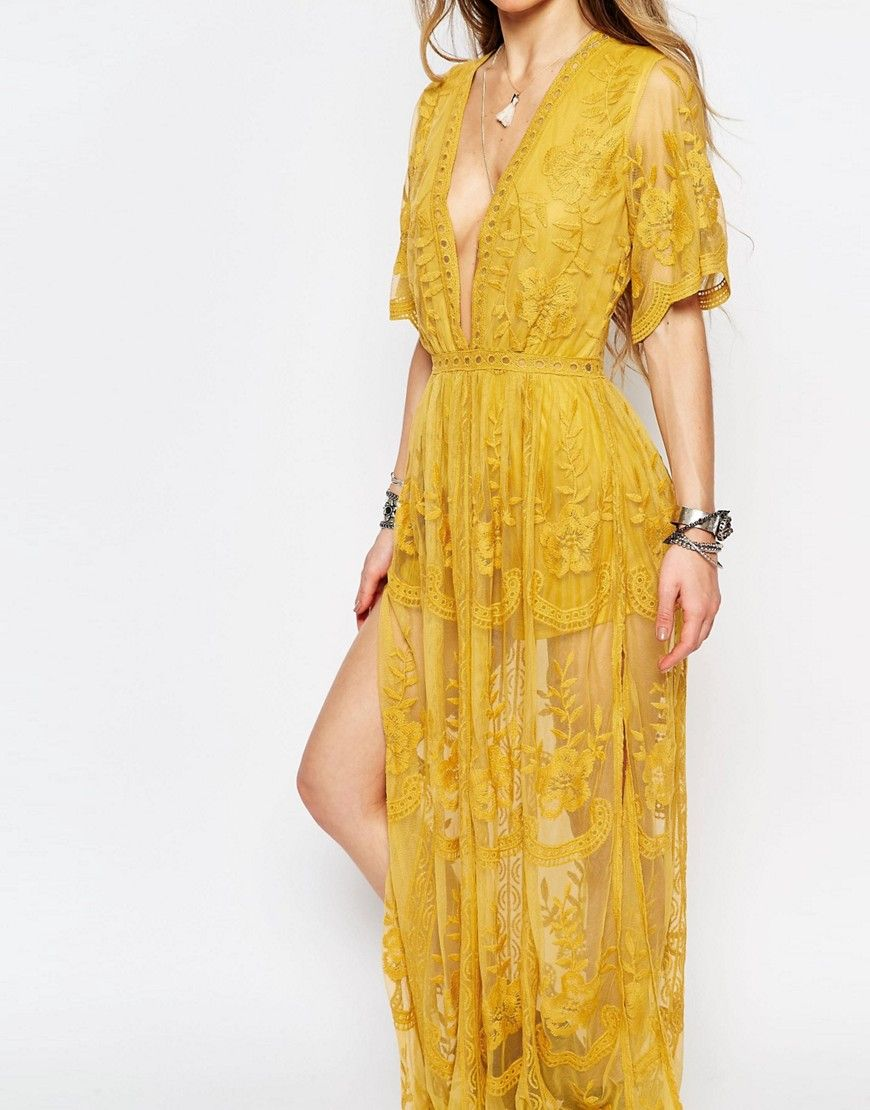 Image of honey punch boho maxi dress with plunge neck in romantic