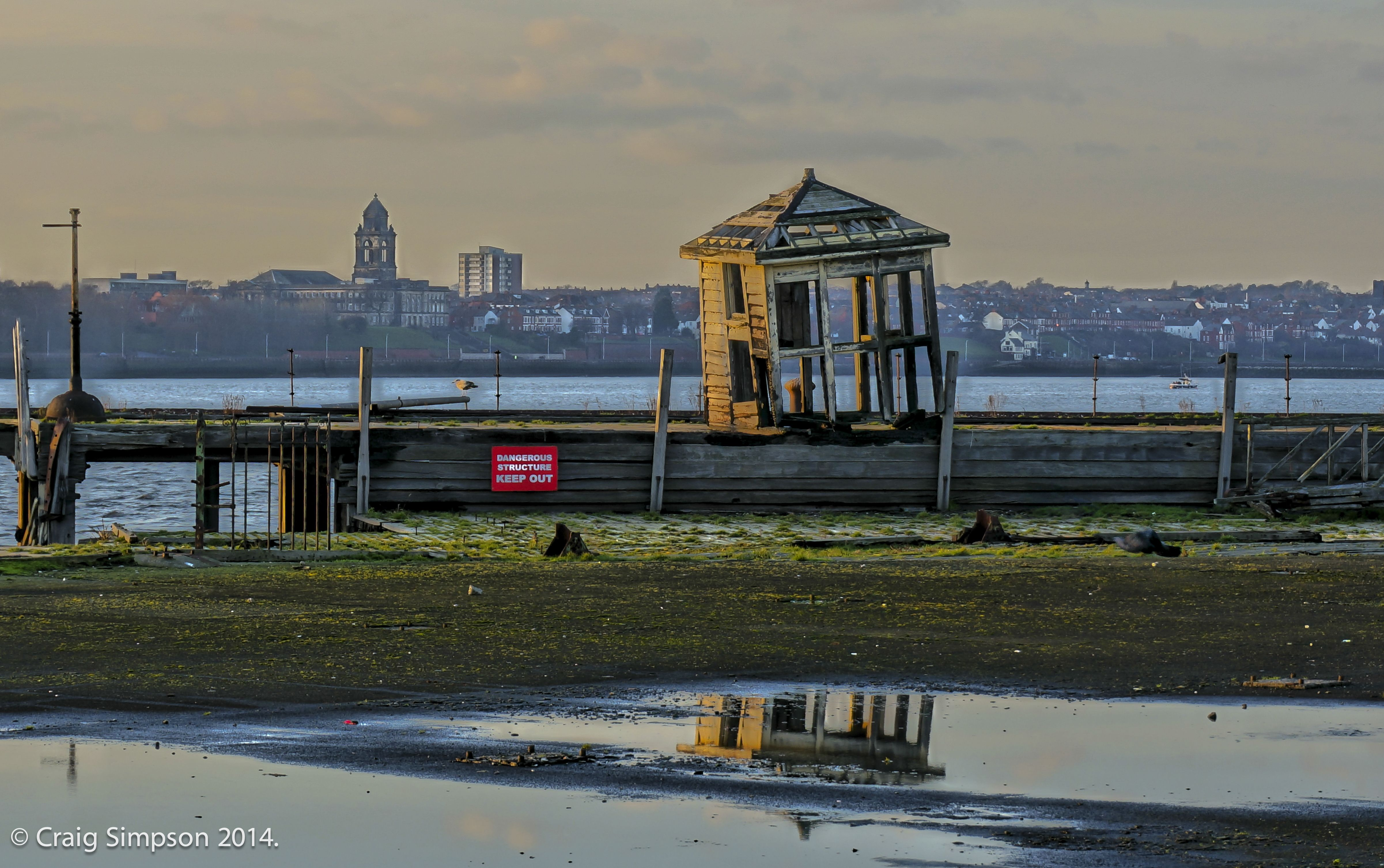 Looking across to the Wirral from Liverpool, Lancashire, England. 30th December 2014.
