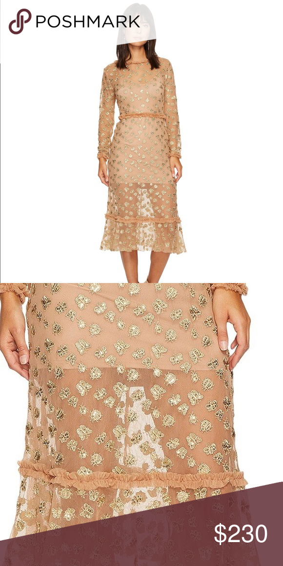 31a739c17b For love and lemons tulle midi Golden garden tulle midi dress with ladybug  and butterfly embroidery! Size medium. New with tags.