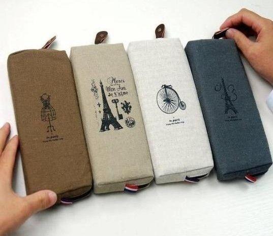 Retro Paris Memory Eiffel Tower Pencil Pen Case Cosmetic Makeup Bag Storage