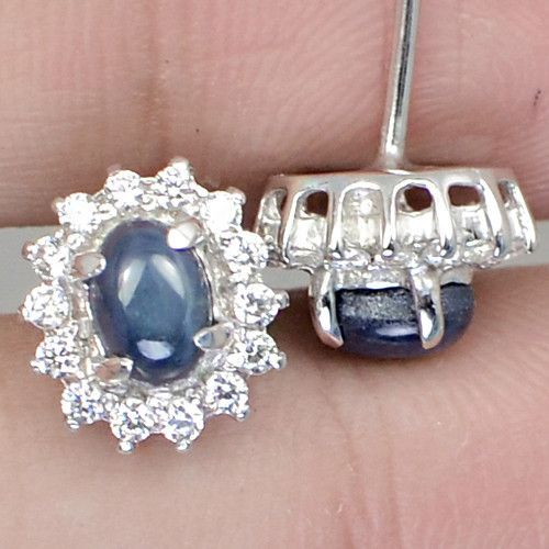 Natural 3.60TCW Oval Cabochon 6 Ray Star Blue Sapphire Earrings