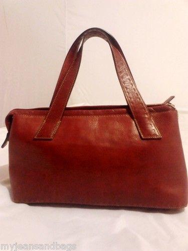 FOSSIL Tote Purse Handbag Satchel Maroon Red Glazed Leather