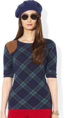 LAUREN RALPH LAUREN Shoulder Patch Plaid Tee Lauren Ralph Lauren