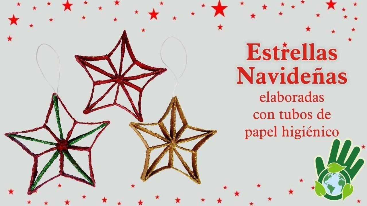 Estrella navide a elaborada con tubos de papel higi nico - Manualidades con rollos de papel higienico para navidad ...