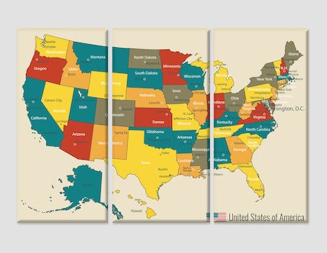 Large Map Of United States.Colorful Usa Map Print United States Federal Push Pin Map Wall Art