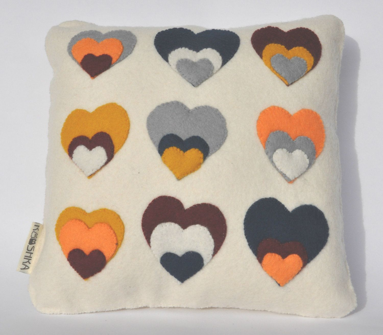 Modern Cushion Wool Felt Hearts Orange Yellow Grey Navy Cream