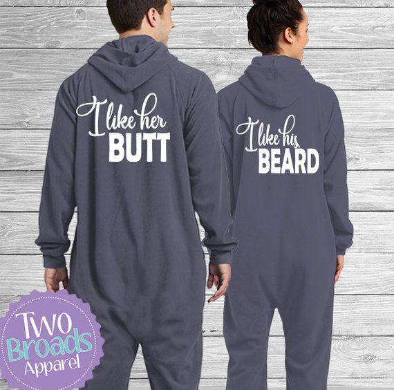 His And Hers Matching Christmas Pajamas: Adult Footie Pajamas, SET OF 2 Onesie Pajamas,Beard Onesie