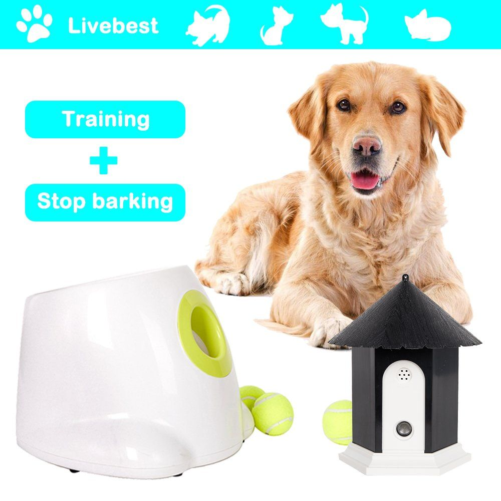 Livebest Mini Automatic Ball Launcher Tennis Ball Throwing Machine Launching And Fetching Balls Dog Treat Game Dog Training Tools Dogs Automatic Ball Launcher