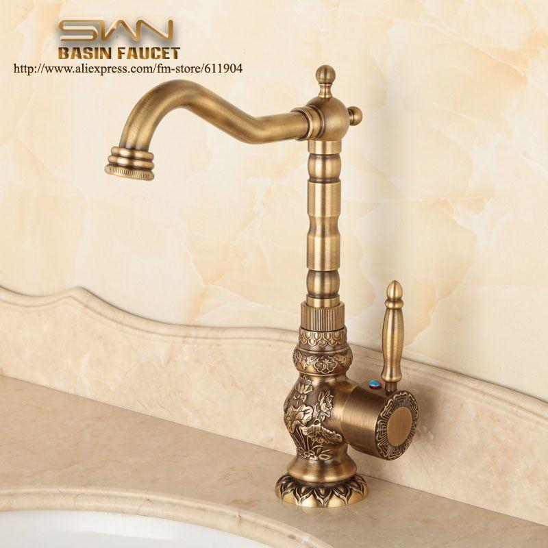 Antique Brass Bathroom Kitchen Sink Faucet   bathroom   Pinterest ...