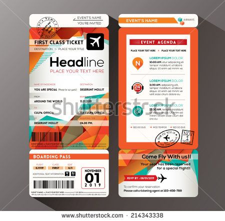 Modern design Boarding Pass Ticket Event Invitation card vector - design tickets template