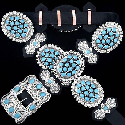 Southwest-Native-Style-Sleeping-Beauty-Turquoise-Cluster-Silver-Concho-Belt-GIFT