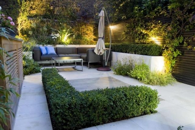 Moderne Patio Ideen Garten Blickfang Möbel Terrasse Außenbereich Beleuchtung