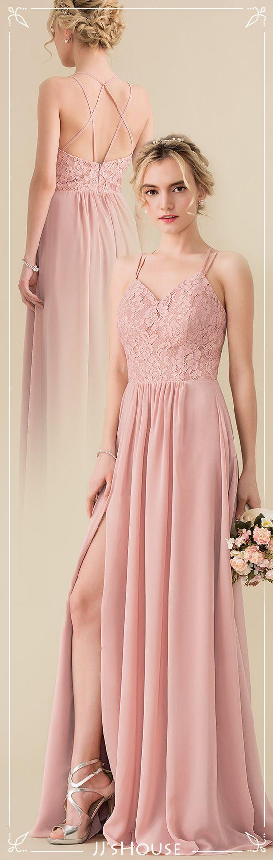 A-Line/Princess Sweetheart Floor-Length Chiffon Lace Bridesmaid ...