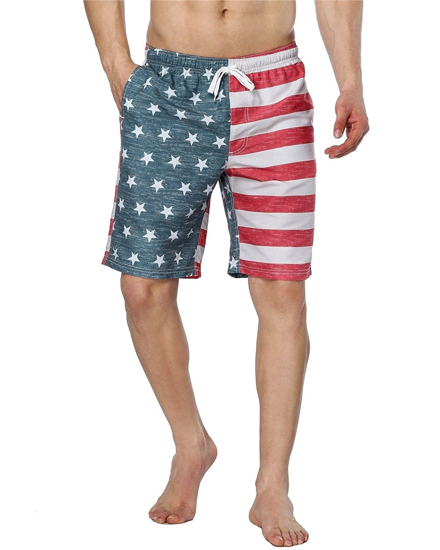 36ae3ae65be9f Mens USA American Flag Board Shorts Elastic Waist Swim Trunks With Pocket -  Usa Flag 1 - CJ18CC8NCCA,Men's Clothing, Swim, Board Shorts #men #fashion  #style ...