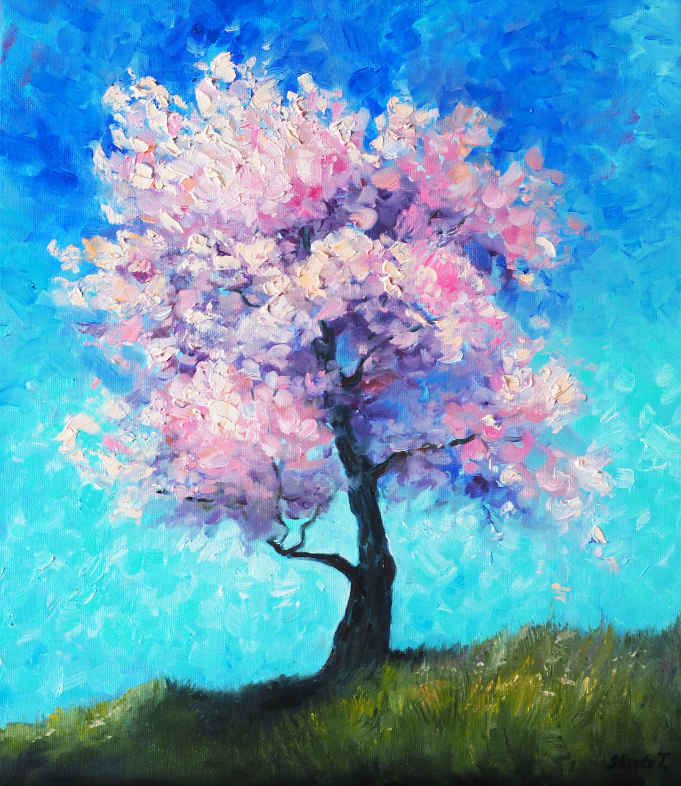 Blooming Tree Oil Painting On Canvas Sunny Landscape Abstract Etsy Christmas Paintings On Canvas Oil Painting On Canvas Tree Art