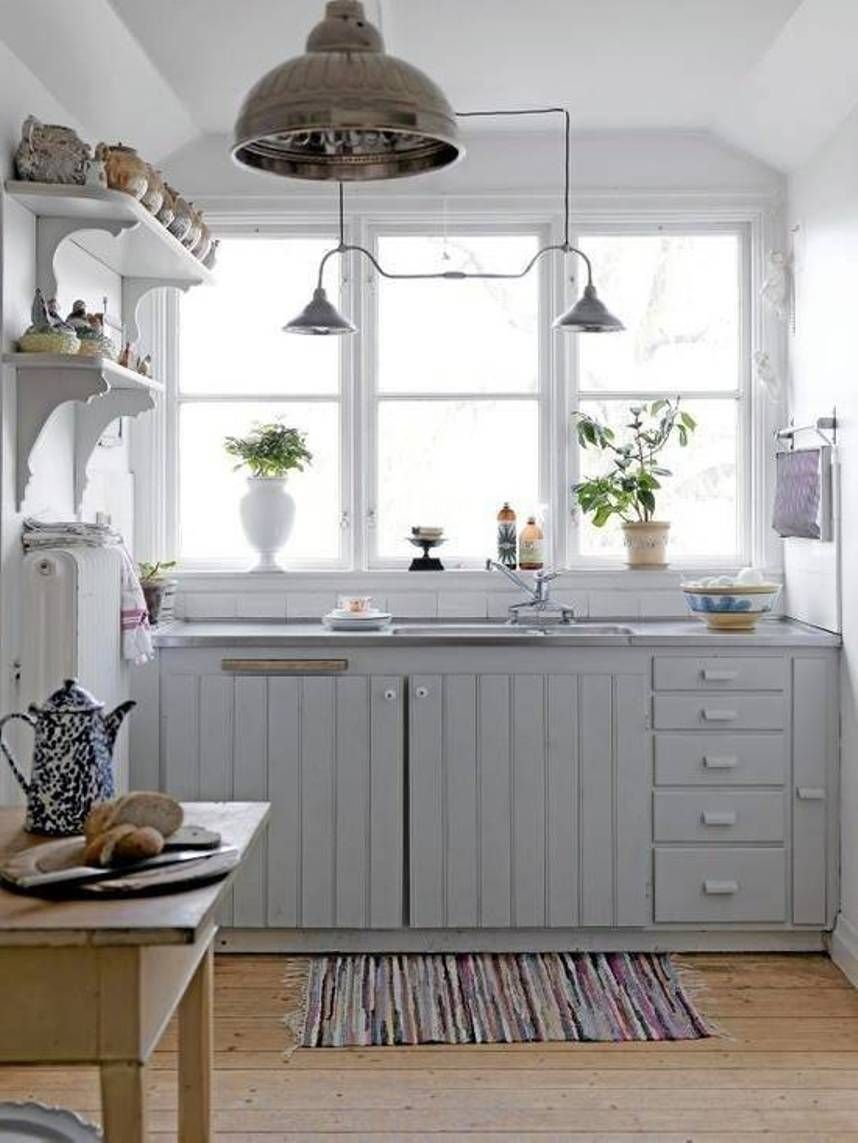 Contemporary Style Small Kitchen Design With Clean And Clear White ...