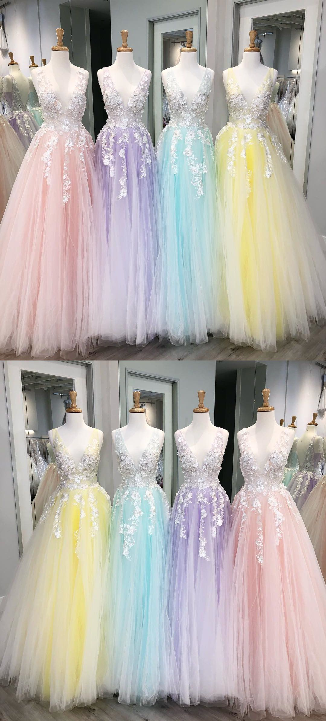 Yellow and Pink Princess Prom Dresses