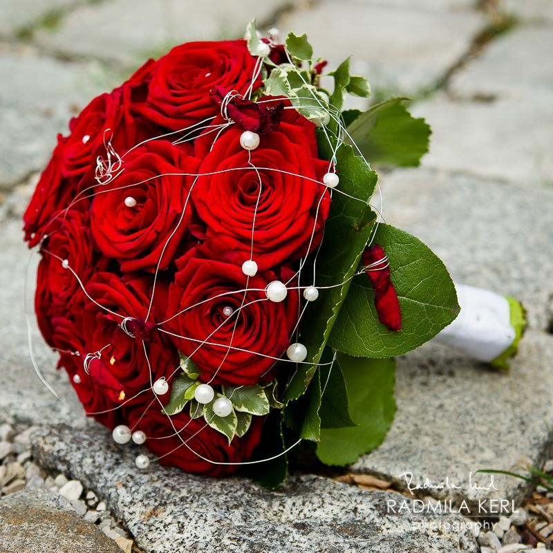 Red Rose Wedding Flower Bridal Bouquet With White Pearls By C