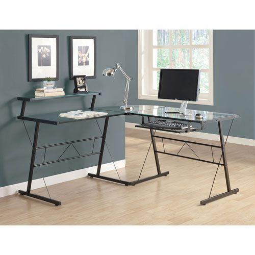 Hawthorne Ave Computer Desk Black Metal Corner With Tempered Glass Bellacor In 2021 Glass Computer Desks L Shaped Glass Desk Home Office Furniture