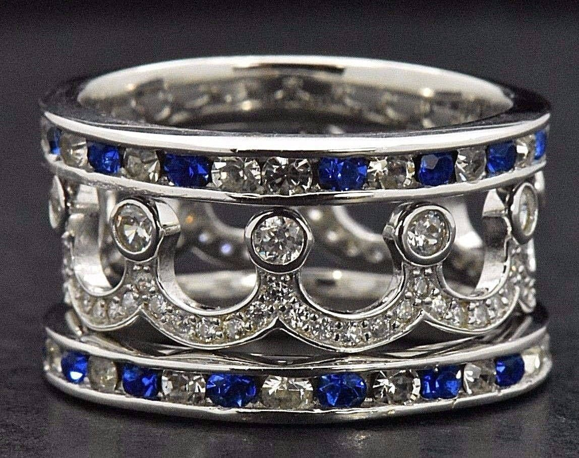 7cc0f2201a462 925 Sterling Silver Stackable Rings Eternity Blue Sapphire Simulated ...