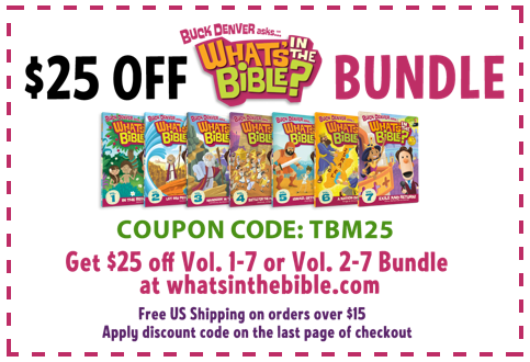 This is a FANTASTIC series through the Bible for kids!! $25 off coupon for What's in the Bible? DVD bundle good through May 7th!