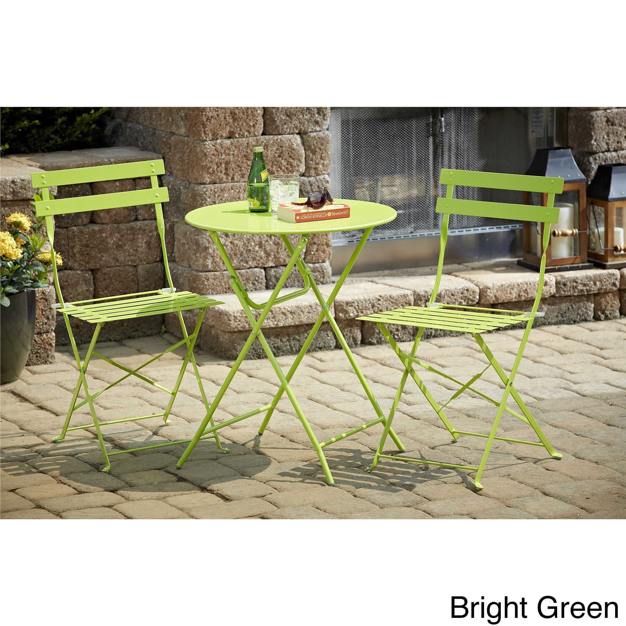 Cosco 3 Piece Folding Bistro Set Bright Green Patio Furniture