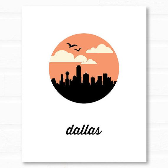 Handmade Detroit Skyline Wedding Invitations By Lano: Dallas Art // Dallas Skyline // Dallas Print By