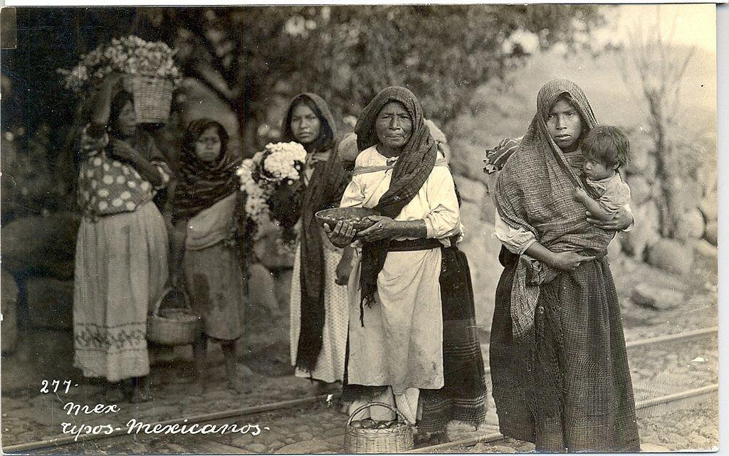 Vintage Mexican Postcard Women