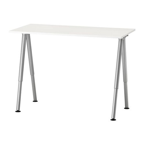 Thyge Desk White Silver Color 47 1 4x23 5 8 Ikea Ikea Desk White Office Furniture Round Living Room Table