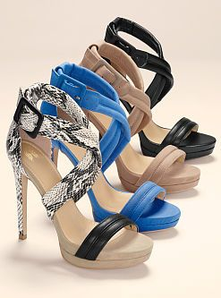 The shoe every style-setter needs: the VS Collection Cross-strap Sandal from Victoria's Secret. With thick straps that cross at the ankle for support, this sky-scraping design offers round-the-clock style.