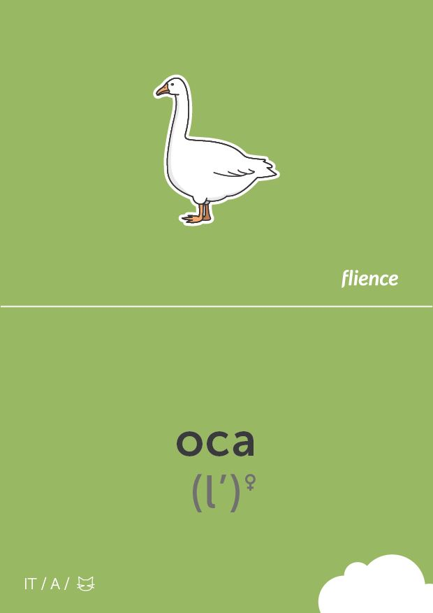 Italian English Animsld: Oca #CardFly #flience #animals #italian #education
