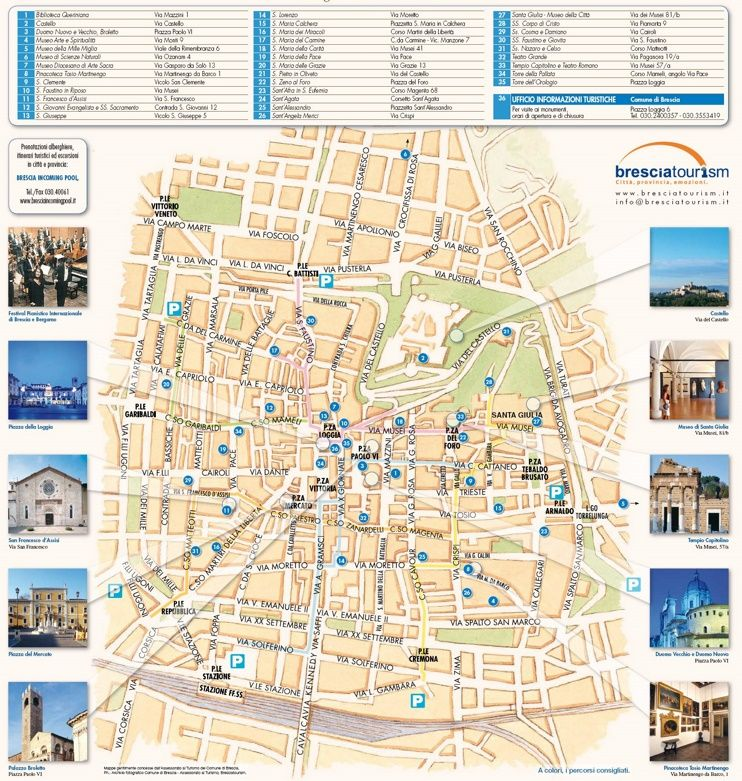 Brescia tourist attractions map Maps Pinterest Italy and City