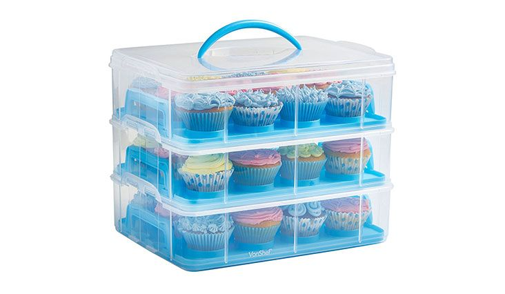 36 Cupcake Carrier Delectable Vonshef Snap And Stack Blue 3 Tier Cupcake Holder & Cake Carrier Decorating Inspiration