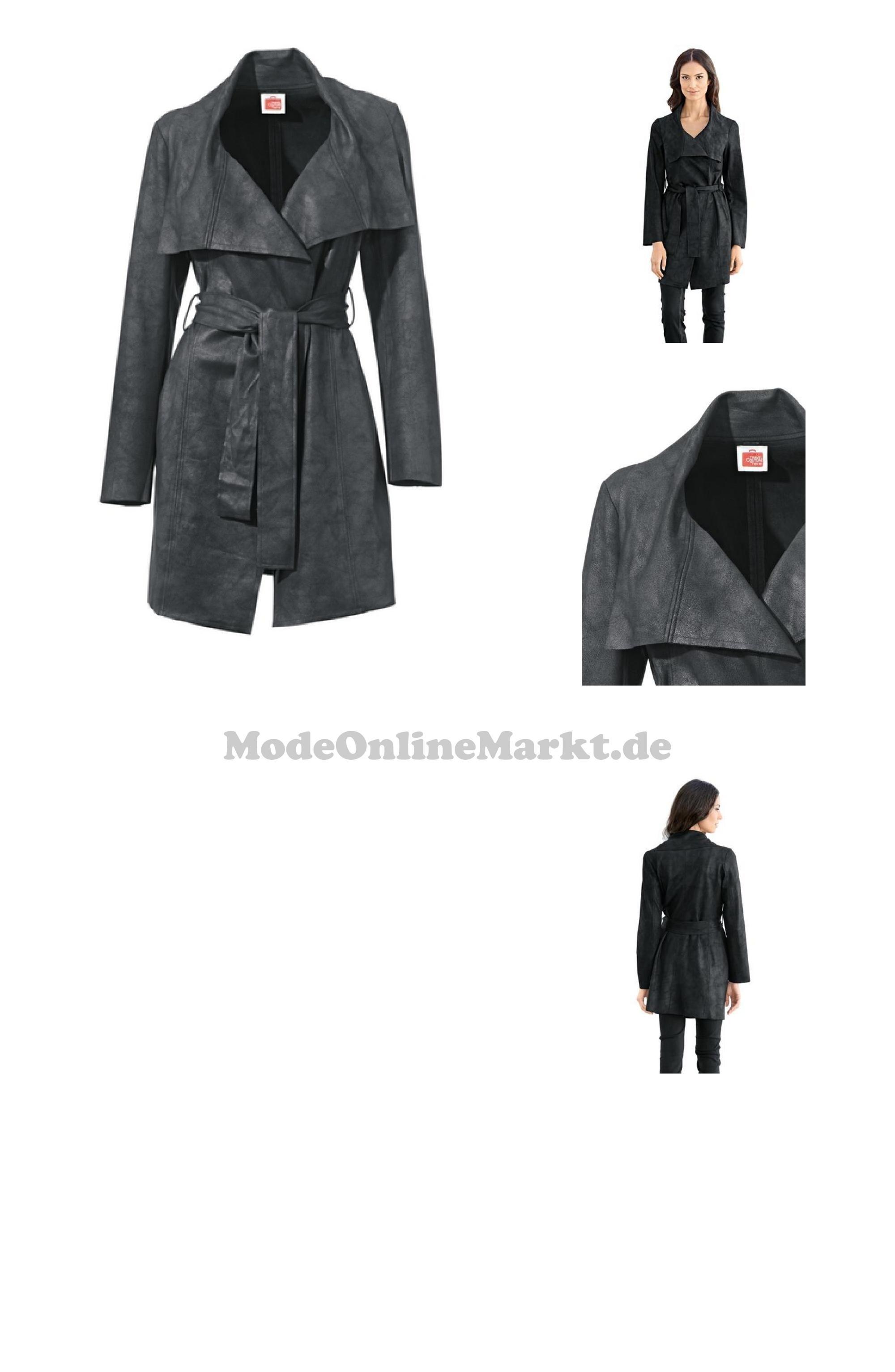 Lederimitat mantel schwarz