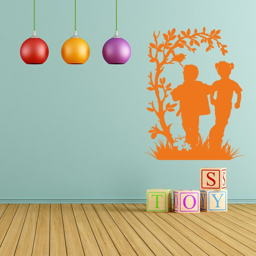Style And Apply 'Frolicking Kids' Multi-color Decorative Wall Decal