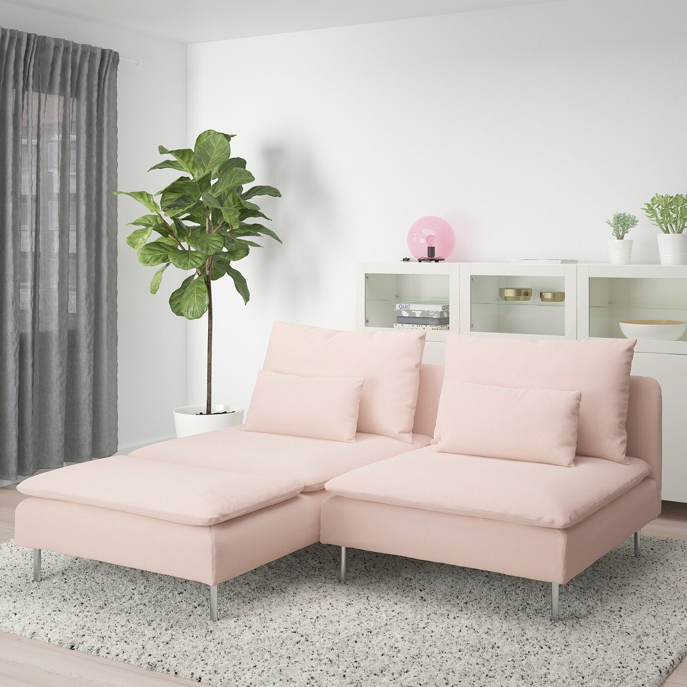 Soderhamn Loveseat With Chaise Samsta Light Pink Canape Sans Accoudoir Causeuse Ikea