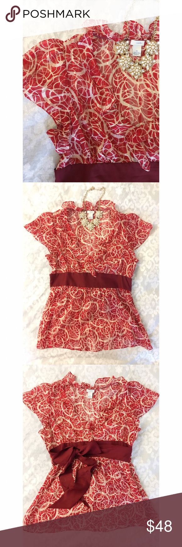 """Anthro Silk Ruffle Top ❤ A perfect top for Valentine's Day! ❤ This pretty feminine blouse has a flirty ruffled v-neck and dark red wide ribbon sash that can be tied in the front of the back. A size zip and romantic flutter sleeves add to this beauty's charm. Sheer and lightweight, this 100% silk Anthropologie 'Odille' top has only been worn once and is in great condition. Measures 27"""" from shoulder to hem. Size 12. ❤ Anthropologie Tops Blouses"""
