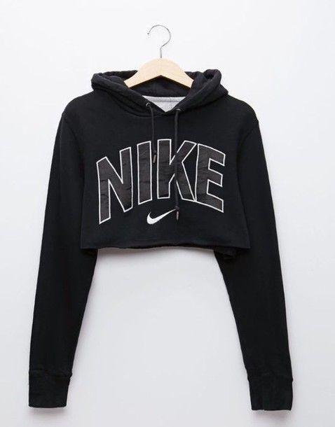 49fba4549f7f Wheretoget - Black Nike cropped hoodie sweatshirt