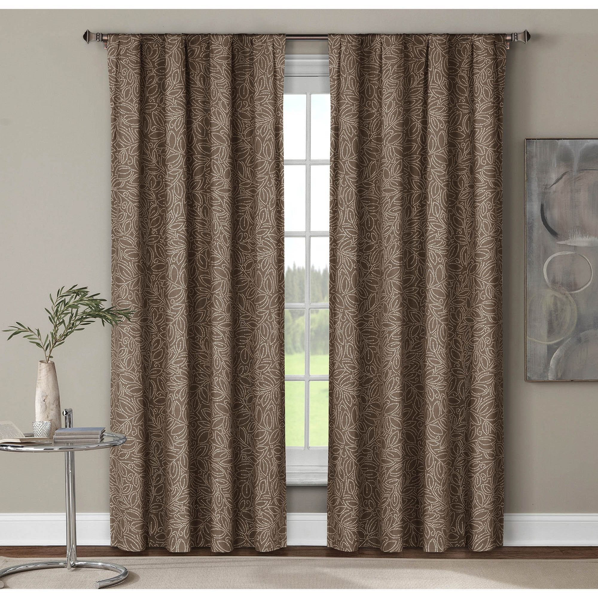 Window Elements Leila Printed 96 Inch Extra Wide Rod Pocket Curtain
