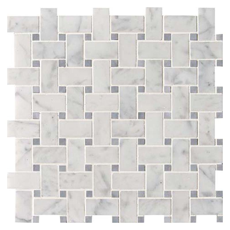 White Carrara Bardiglio Polished Basket Weave Marble Mosaics 12x12 Marble Mosaic Carrara Granite Tile
