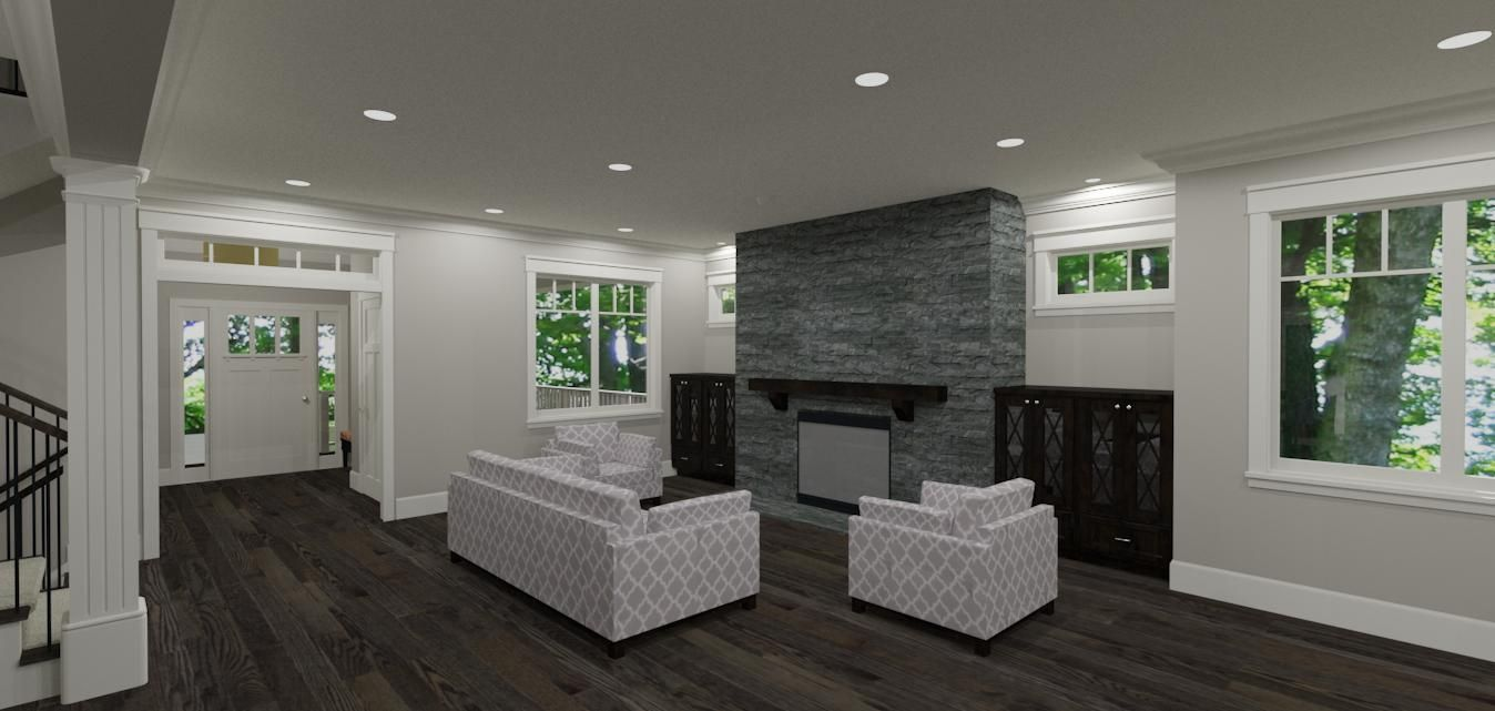 living room final - dark cabinets and mantle