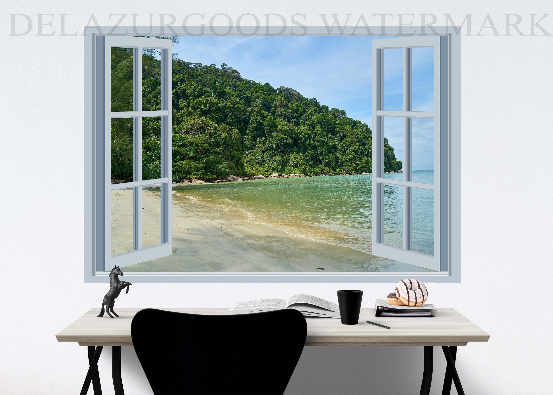Green Island Window View Wallpaper Peel And Stick Etsy Wood Panel Wall Decor View Wallpaper Grey Wall Decor