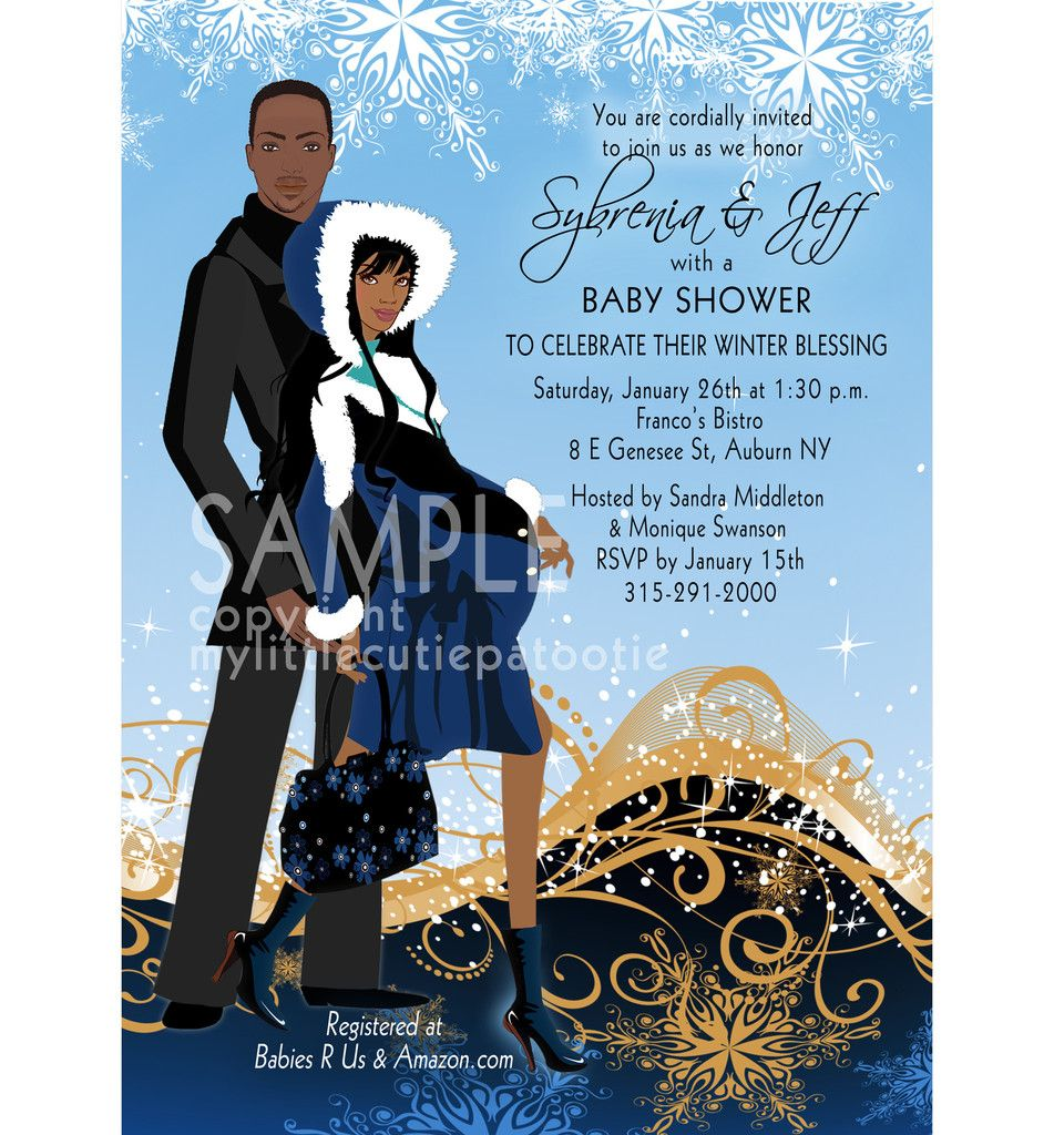 Winter Elegance Couple, Blue / Baby Shower Invitation / African ...