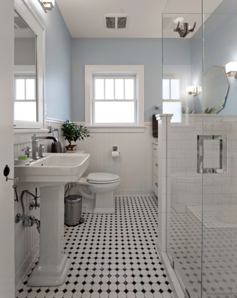 Nice flooring very classic also nice blue with white wainscoting