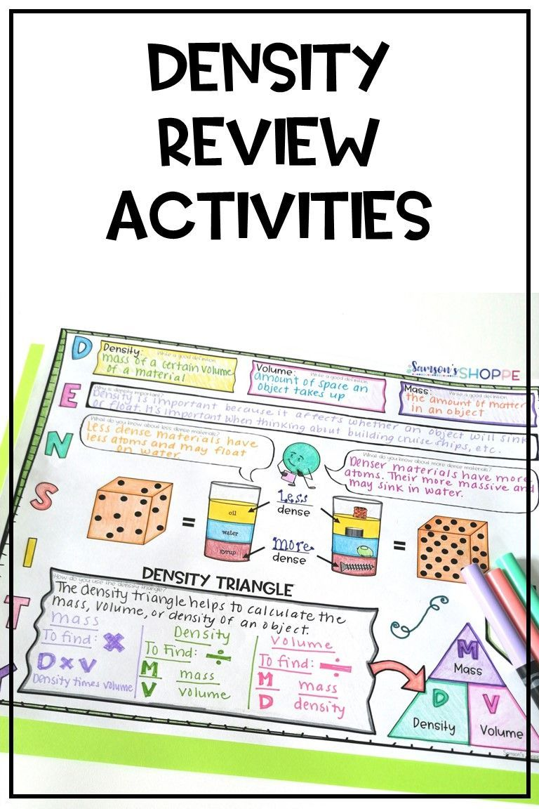 Density Activities Review density with your middle