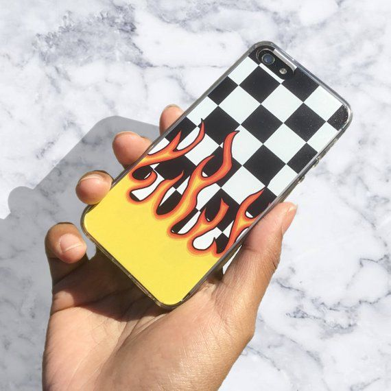 Checkerboard Flame iPhone 12 Case, iPhone 11 Case, Aesthetic, iPhone XR, Samsung Galaxy S20, iPhone 12 Pro Case, 90s Grunge