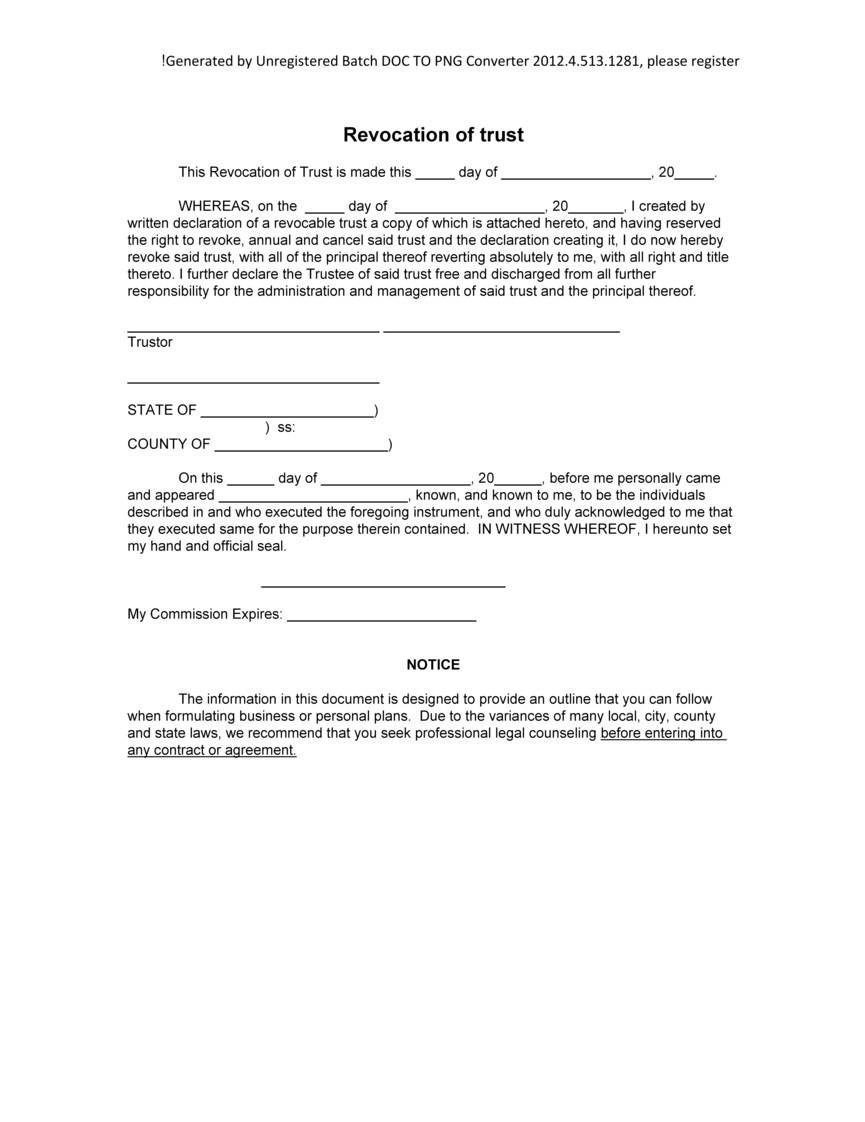 Sample Revocation Of Trust Form Blank Revocation Of Trust Example