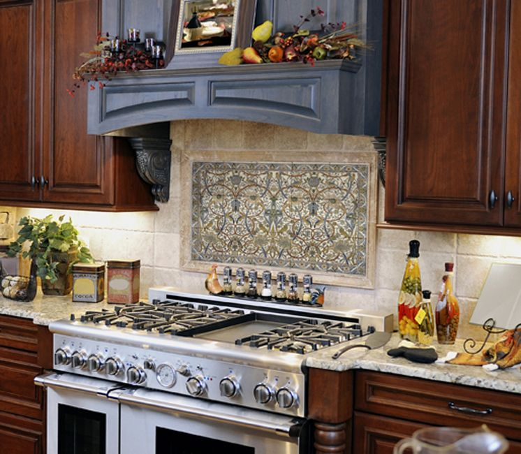 Clermont upright pewter stone tile kitchen backsplash for Backsplash mural tile